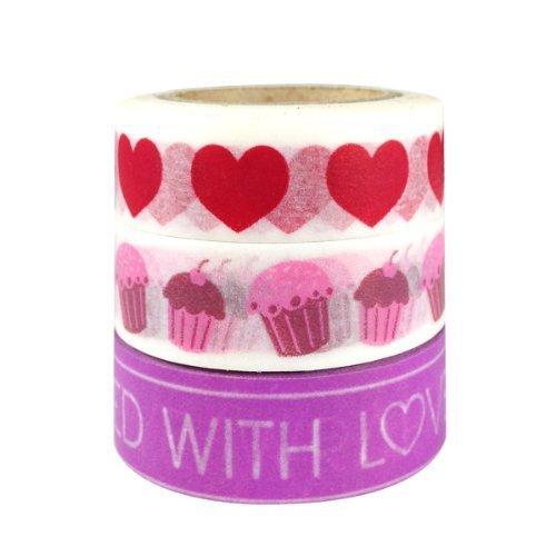 Wrapables I Heart Cupcakes Japanese Washi Masking Tape Set of 3