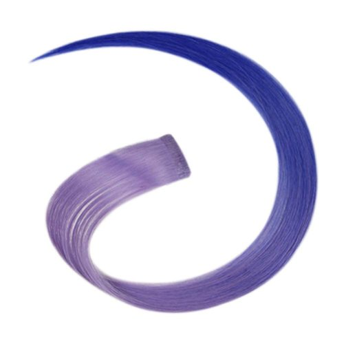 2 Pieces Of Fashionable Invisible Hair Extension Wig Piece, Purple And Blue