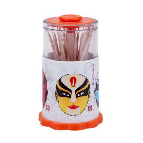 Home Automatic Toothpick Box Three Heroes' Story Face Mask Toothpick Tube Orange