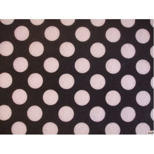 "Black with White Spots Spotty Polka Dot Felt. 9"" x 12"