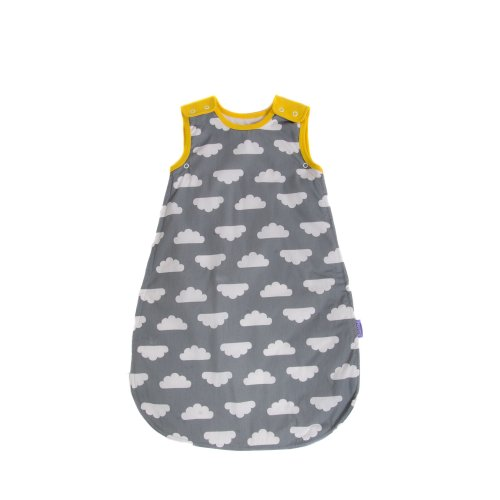 Mama Designs Babasac Multi Tog Baby Sleeping Bag in Grey Cloud with Yellow Edging design for 0 to 6 Months. 1.0 and 2.5 Tog included.
