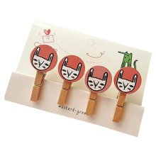Creative Natural Wooden Lovely Photo Paper Peg Pin Craft Clips with 52CM Jute Twine, NO.11