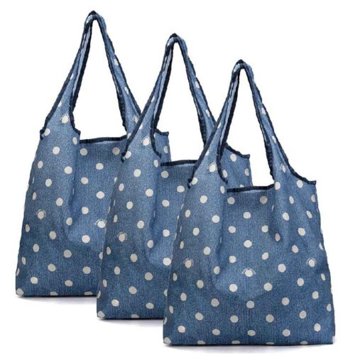 Blue - 3 Pieces Reusable Grocery Bags Foldable Boutique Shopping Bags Portable Tote Bags Carry Bags
