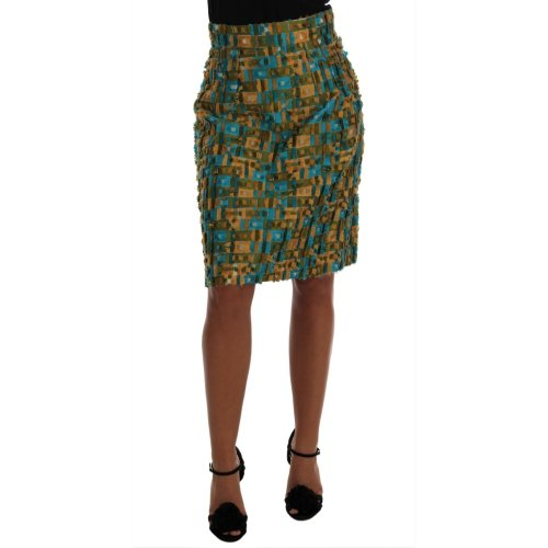 Dolce & Gabbana Multicolor Jacquard Straight Pencil Skirt