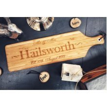 Personalised Large Mr & Mrs Surname & Date Wooden Cheese Board 60x17cm