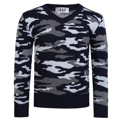 Boys V-neck Camouflage Knitted 1781 Jumper