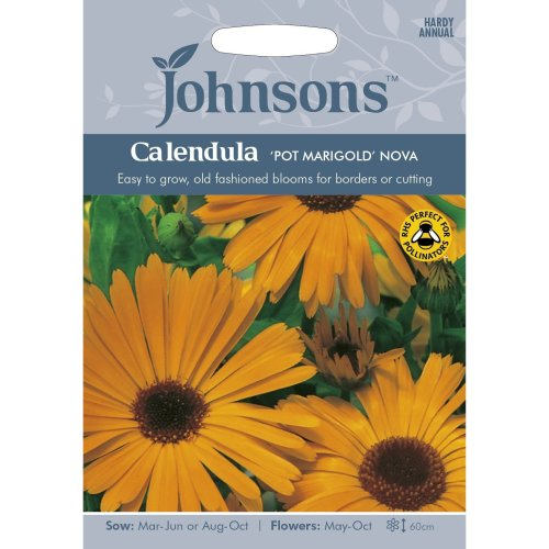 Johnsons Seeds - Pictorial Pack - Flower - Calendula 'Pot Marigold' Nova - 120 Seeds