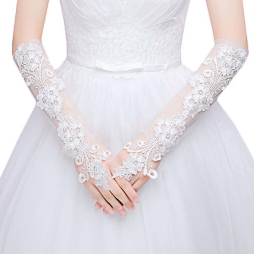 Bridal Wedding Gloves Party Dress Lace Long Gloves A06