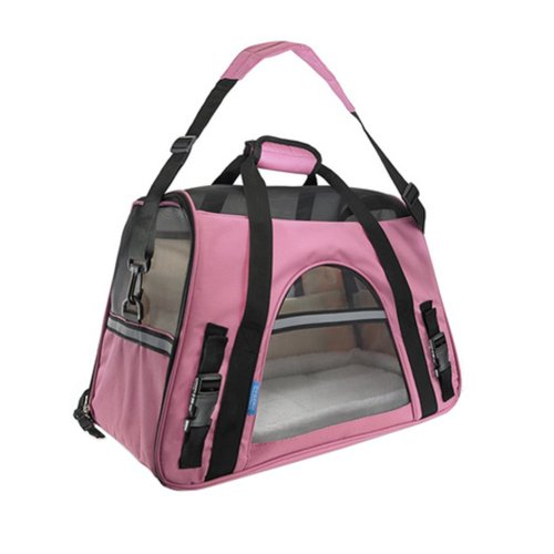 Pet Carrier Soft Sided Travel Bag for Small dogs & cats- Airline Approved, Pink