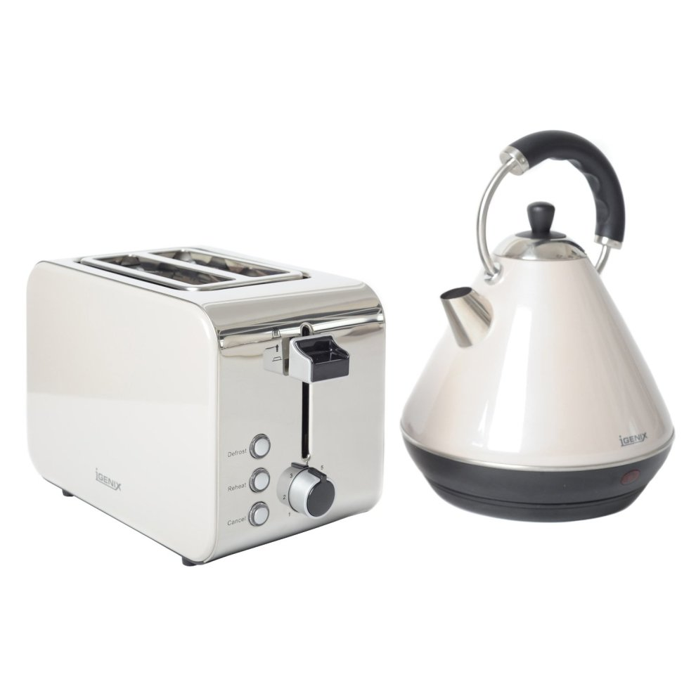 9c1f67623ca2 Igenix IGPK14 Breakfast Set, Pyramid Kettle and 2 Slice Toaster - White on  OnBuy