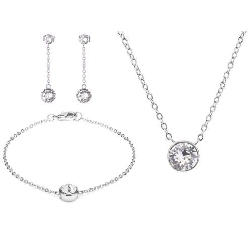 White Gold Chain and Swarovski® Crystal Tri Set (Necklace, Bracelet & Earrings)
